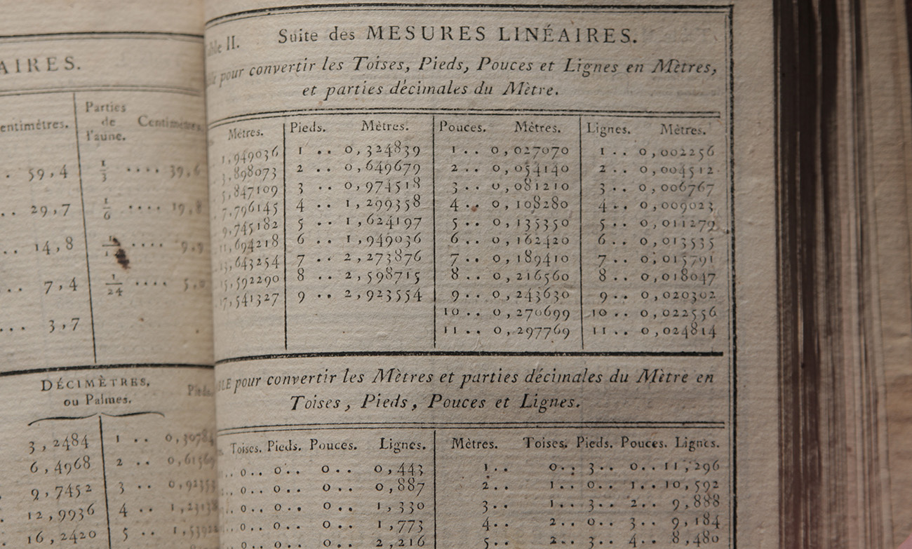 A page from one of the metrication instruction books of 1795